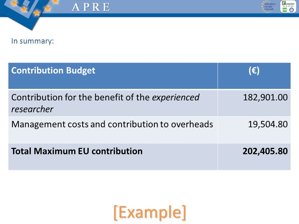 [Example] Contribution Budget (€)